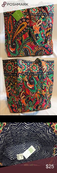 Vera Bradley Venetian Paisley Tote NWT The Tote has two long straps and three interior slip-in pockets. There are no exterior pockets. It has a tortoise toggle closure. It is not the outlet version with the nylon lining. It has the fabric lining as pictured. Vera Bradley Bags Totes