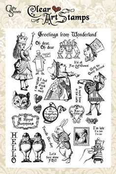 Alice in Wonderland greetings clear art stamps by crafty secrets rubber stamping