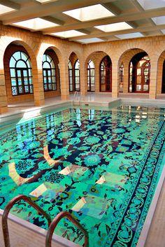 Persian carpet pool made with ceramic tiles by Graig Bragdy Design. Persian carpet pool made with ceramic tiles by Graig Bragdy Design. Future House, My House, My Pool, Indoor Swimming Pools, Lap Pools, Backyard Pools, Pool Decks, Pool Landscaping, Beautiful Pools