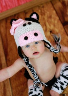Black and White Cow Earflap Hat with bow by makinitmama on Etsy, $18.00