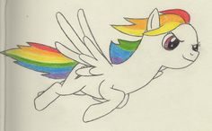 Rainbow Dash (Partly Colored) by Vracer.deviantart.com on @deviantART