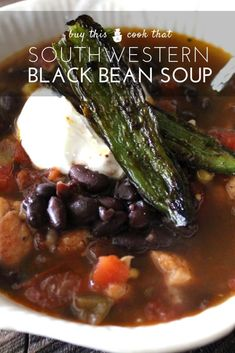 Warm and comforting Southwestern Black Bean Soup is loaded with black beans, corn, tomatoes and tender seasoned chicken. Serve with roasted jalapenos. Best Soup Recipes, Healthy Soup Recipes, Chili Recipes, Meat Recipes, Chicken Recipes, Dinner Recipes, Yummy Recipes, Salad Recipes, Healthy Food