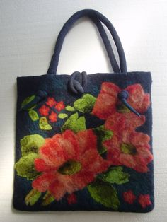 Romantic Dark Blue Wool ART Felted Bag with Big Attractive Coral Flowers Bouquet OOAK. $128.00, via Etsy.