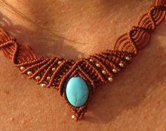 Gioielli macramè, labradorite, naturale macrame, collana di marrone, Collana Boho, gioielli tribali, Gipsy collana, collana indiana
