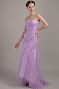 Lavender Strapless Mermaid Ruffled Formal Ladies Evening Dresses