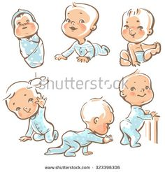 Set with cute baby boys. Growth from newborn to toddler. First year activities. Crawling, sitting, standing, playing, smiling. Vector Illustration isolated on white background