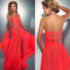 Custom Made Open Back watermelon red Long Prom Dresses 2015 A Line Chiffon Beading Mother Of Bride Party Gown Vestidos de Baile