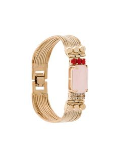 Iosselliani Elegua Rose Quartz Fringed Bracelet In Metallic Iosselliani, Bangles, Bracelets, Rose Quartz, Belt, Crystals, Stone, Metallic, Accessories