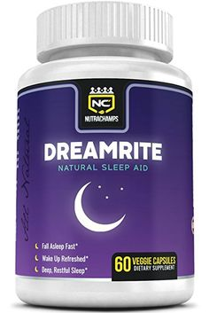 DREAMRITE Natural Sleep Aid - Non-Habit Forming - Stress, Anxiety & Insomnia Relief Supplement - Herbal Sleeping Pills for Adults with Valerian, Chamomile, Magnesium, Melatonin - 60 Vegan Capsules
