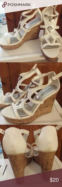 New (MONTEGO BAY CLUB) white sandals size 8.5 New with tags cork board built in wedge heel 5 inches tall.  Adjustable strap. montego Shoes Sandals