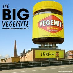 """VEGEMITE museum in the shape of the iconic jar. Opening Australia Day 2016, The Big VEGEMITE Jar will be located at the """"Home of VEGEMITE"""", its production factory in Port Melbourne. Housing a five-story museum, the eye-catching sculpture will be visible in the Melbourne skyline."""