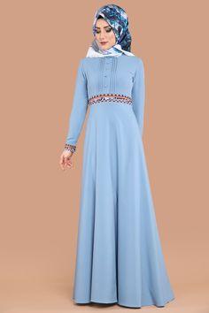 Pul Nakışlı Tesettür Elbise MDS2021 Bebe Mavi