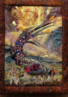 Items similar to SOLD. Available for commission only. wall hanging pheasant textile art mans present fiber art art quilt wildlife fabricwall hanging on Etsy Fabric Birds, Fabric Art, Fabric Design, Landscape Art Quilts, Bird Quilt, Country Quilts, Colorful Quilts, Animal Quilts, Quilting Designs