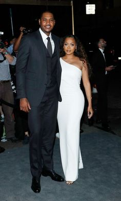 09.08.2016 | Carmelo Anthony and La La Anthony – also looking stunning in white – arrive at the party.