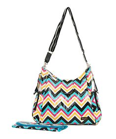 Love this Bayá Black & Turquoise Zigzag Messenger Diaper Bag by Bayá on #zulily! #zulilyfinds