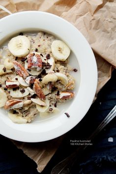 100 KITCHEN STORIES: Steel Cut Oats with Cashew, Walnuts and Almonds, and Banana, Sea Salt and Cacao Nibs