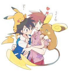 Shigeru/Gary and Satoshi/Ash from the Pokemon Anime with Pikachu and Raichu by たらこのこ on Pixiv Gary Pokemon, Pokemon Ships, Pokemon Fan Art, Green Pokemon, New Pokemon, Pokemon Sun, Satoshi Pokemon, Pokemon Original, Pokemon Stories