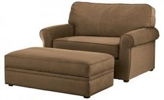 Chair and a half with sleeper, plus storage ottoman. This would be perfect for the man room!