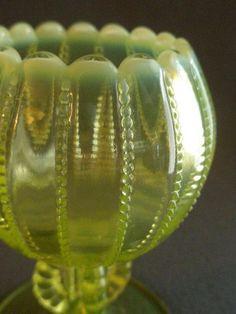 Westmoreland Glass 'Beaded Panel' Design Opalescent Vaseline Rose Bowl from…