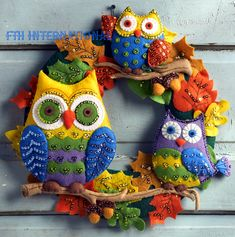 Owl Wreath Bucilla Felt Fall Home Decor Kit # 86562 - FTH International Sales Ltd.