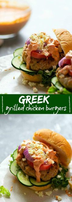 Grilled chicken burgers are piled high with fresh Greek toppings and a creamy red roasted red pepper tzatziki sauce for an incredibly flavorful Greek twist on burgers! Grilled Chicken Burgers, Greek Grilled Chicken, Grilled Desserts, Tzatziki Sauce, Grilling Recipes, Sandwich Recipes, Grilled Vegetables, Light Recipes, The Fresh