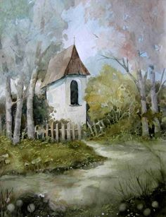 Kapliczka Country Chic, Painting Inspiration, Painting & Drawing, Folk Art, Landscape, Abstract, Drawings, Watercolors, Poland