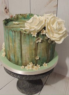 Vintage aged wood birthday celebration cake with roses hand painted