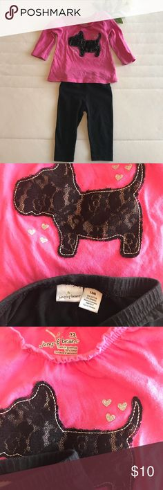 Pink Dog Long Sleeve & Black Leggings Top has ruffle detail along neck line. Scottie (assuming) lace design on front. Simple black leggings. All kids clothes range from brand new- gently used. The never used items have had tags removed and were washed. These items are from my personal home and stored in bins 🌟FAST SHIPPER🌟❣️AMBASSADOR❣️💚BUNDLE & SAVE💚 Jumping Beans Shirts & Tops Tees - Long Sleeve