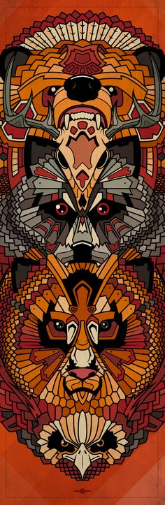Animals Totem Illustration | Bear, Deer Skull, Wolf, Lion, Eagle