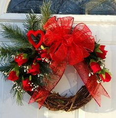Valentine Wreath, Red Roses Wreath, Floral Grapevine Wreath, Red Rose Valentine Wreath, Red Rose Grapevine Wreath, Rose Valentine Wreath - pinned by pin4etsy.com