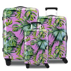Burst into 2020 with an eruption of color with Chariot Travelware's Paradise luggage set. With a bright pink backdrop, Paradise uses a collection of ferns to inspire a fun, colorful tropical vacation. This spinner is crafted from polycarbonate/ABS material, making it durable enough for any rough travel, but also ultra-lightweight to not weigh you down. Paradise also features a 3-digit TSA-lock combination for extra security, expandable capacity up to 30%, and eight 360 easy-glide wheels. Pink Backdrop, Hardside Spinner Luggage, Palm Tree Print, Bright Pink, Pink Color, 3 Piece, Traveling By Yourself, Ferns
