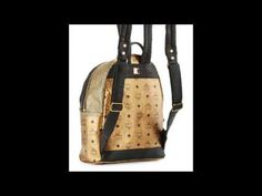 Cheap Price MCM Stark Small Leather Insignia Backpack, Gold