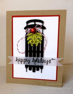 Holiday Sled card by Jacquie J - Cards and Paper Crafts at Splitcoaststampers Christmas Cards 2018, Christmas Sled, Christmas Card Crafts, Christmas Scrapbook, Xmas Cards, Holiday Cards, Christmas Wishes, Christmas Ideas, Alpine Adventure