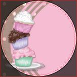 Sticker with stacked cupcakes on pink and brown background..  Can be used for books, DVD's, CD's, address labels or envelope seals.