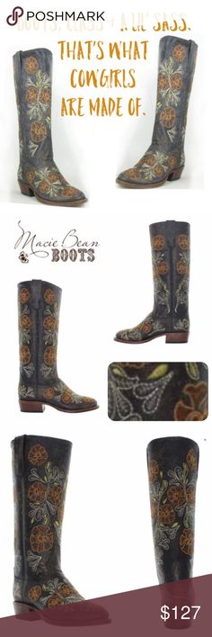 """Beautiful Macie Bean Women's Western Boots ~ Keep those cowboys in check ✔️when you step out in these captivating boots.  🏷NIB 🏷MSRP: $190.00 🏷Size: 9  ☑️Dark brown ☑️Embroidered blooms of vibrant yellow, orange, cream, green ☑️Distressed leather upper  ☑️Leather lining  ☑️Leather outsole ☑️Pull tabs for easy pull on  👢Shaft: Approx. 13.75"""" 👢Heel: Approx. 1.5""""  👢Toe: Mod-E round toe   FIRM Macie Bean Shoes Heeled Boots"""