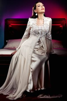 Silk Chiffon & Lace Designer Negligee