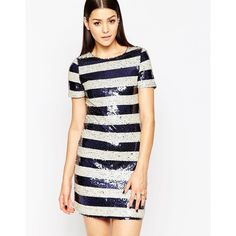 Club L Shift Dress in Two Tone Sequin Stripe ($10) ❤ liked on Polyvore featuring dresses, navycream, white sequin dress, navy sequin dress, navy shift dress, navy blue dress and navy striped dress