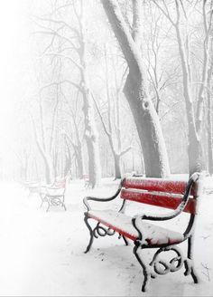 invierno, banco rojo, nieve