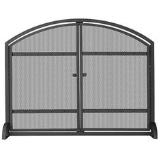 Black Arched Single Panel Screen with Doors