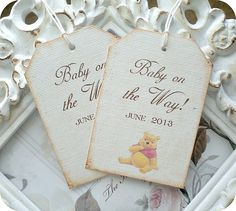 Personalized Classic Winnie the Pooh Tags- Set of 6 - Vintage Inspired / Cottage Chic - Favors, Baby Showers, Birthdays