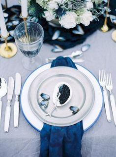 Seaside Blues #indigo #place Setting #oyster #moody #seaside #sea. Navy Blue  WeddingsSilver WeddingsBeach WeddingsWedding Table SettingsWedding ...