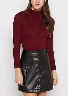 Burgundy Ribbed Fitted Turtleneck Sweater