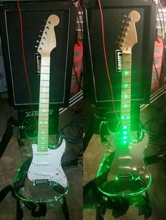 No-name Strat copy - acrylic w/ green LED's.