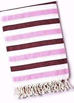 "Custom & Luxurious {30"" x 60"" Inch} 1 Single Large & Thin Soft Summer Beach & Bath Towels Made of Quick-Dry Cotton w/ Striped Burgundy Bubblegum Turkish Lounging Vacation Souvenir Style [Multicolor]"