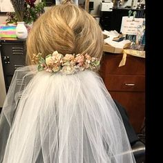 Hannah Mullins added a photo of their purchase Wrist Corsage Wedding, Bridesmaid Corsage, Flower Headpiece Wedding, Blush Wedding Flowers, Wedding Hair Flowers, Flowers In Hair, Blue Bridesmaids, Jennifer Jones, Blue Boutonniere