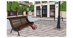 Madrid, Antonio Vega, Outdoor Furniture, Outdoor Decor, Park, Home Decor, Cities, Illustrations, Decoration Home