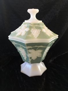 Rare, Vintage, Jadeite Jade and White,  Indiana Harvest Grape, Milk Glass, Footed Covered Candy Dish by Nanaslittlecottage on Etsy