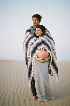 Maternity portrait with blanket