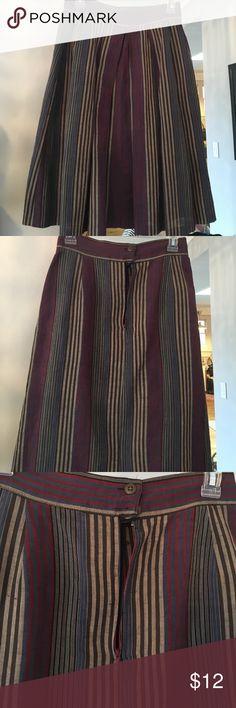 Vintage skirt Stripped skirt size 4 linen cotton poly blend Skirts Midi
