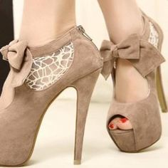 $16.07 Wedding Women's Peep Toed Shoes With Lace and Suede Bowknot Design